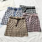 Checked A-line Skirt With Belt