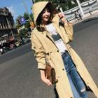Drawstring Hooded Double-breasted Trench Coat
