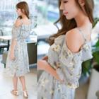 Floral Print Off-shoulder Elbow Sleeve Chiffon Dress