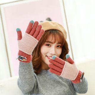 Colour Block Knit Gloves