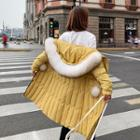 Furry Trim Hooded Padded Zip Long Jacket