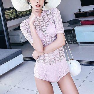 Set: Plain Bikini + Short-sleeve Lace Swimsuit