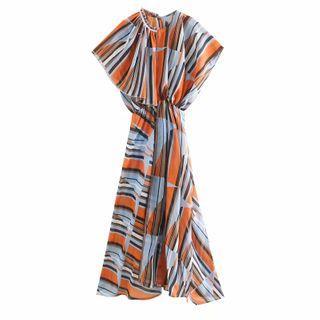 Asymmetric Printed Cap-sleeve Midi A-line Dress