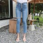 Button-fly Ripped Washed Skinny Jeans