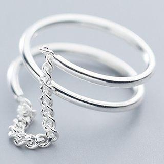 925 Sterling Silver Chain Ring S925 Silver - As Shown In Figure - One Size