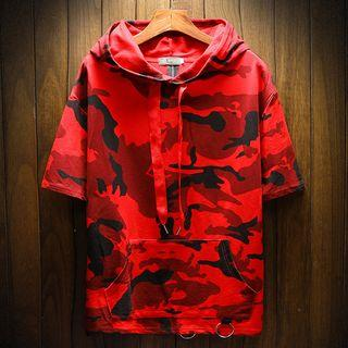Camo Hooded Short-sleeve T-shirt