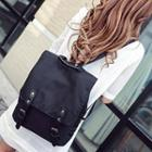 Buckled Flap Nylon Backpack