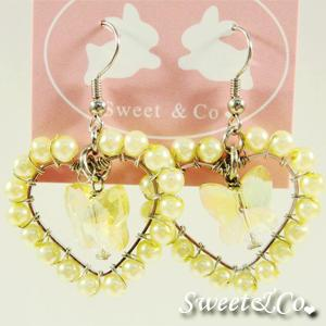 Sweet Lover Yellow Heart Butterfly Earrings