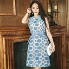 Sleeveless Frilled Patterned Dress