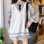 Set: Plaid Lantern-sleeve Shirt + Contrast Trim Knit Vest