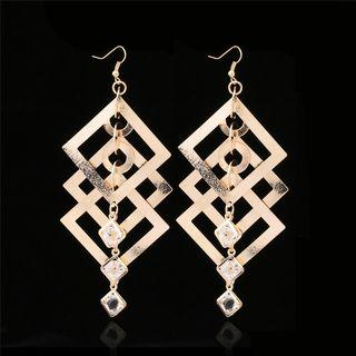 Glass Bead Square Dangle Earring 1 Pair - Gold - One Size
