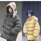 Lettering Padded Hooded Buttoned Coat