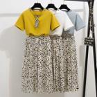 Set: Short-sleeve T-shirt + Dotted Accordion Pleat Midi Skirt