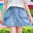 Frilled Denim A-line Skirt