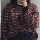 Long-sleeve Embroidered Letter Striped T-shirt Stripe - One Size