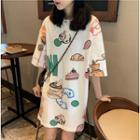 Printed Short-sleeve Long T-shirt White - One Size