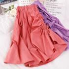 Plain Band-waist Drawstring Midi A-line Skirt