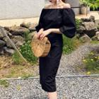 Off-shoulder Puff-sleeve Midi Dress