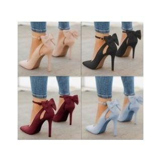 Pointed Toe Ankle Strap Back Tie Bow High Heel Pump