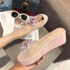 Clear Strap Flower Detail Platform Wedge Slippers