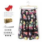 Mesh Panel Floral Skirt