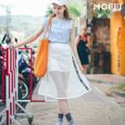Letter Mesh Panel Skirt