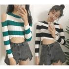 Cutout Striped Cropped Long-sleeve Knit Top