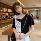Short-sleeve Dotted Panel Top