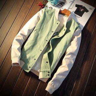 Lettering Color Panel Snap Button Baseball Jacket