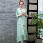 3/4-sleeve Embroidered Sheer Overlay Midi Dress