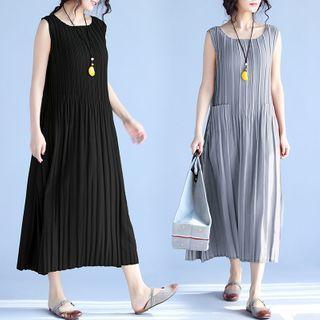 Sleeveless Pleated Chiffon A-line Midi Dress