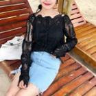Set: Lace Long-sleeve Top + Plain Camisole Top