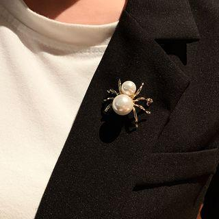 Faux Pearl Spider Brooch Gold - One Size