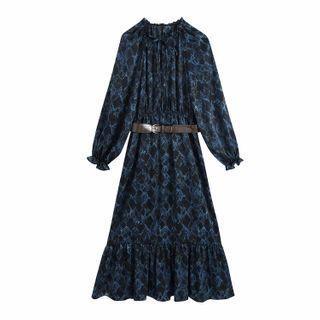 Long-sleeve Floral Print Belted Dress
