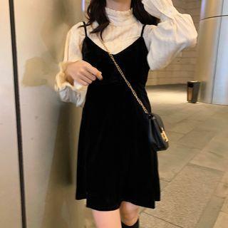 Velvet A-line Pinafore Dress Black - One Size