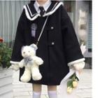 Sailor Collar Button Coat Black - One Size