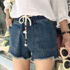 Drawstring Fray Hem Denim Shorts