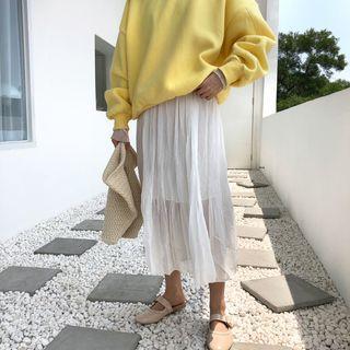 Plain / Dotted Midi Accordion Pleated Skirt