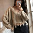 Fray Hem Cropped Sweater