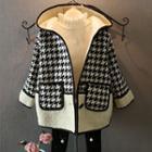 Contrast-trim Houndstooth Hooded Coat