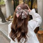 Floral Print Bow Fabric Hair Clip