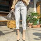 Tapered White Cotton Pants