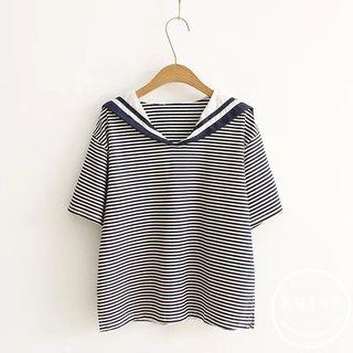 Sailor Collar Striped Short-sleeve T-shirt