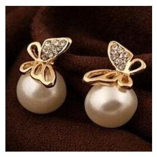 Faux-pearl Butterfly Earrings