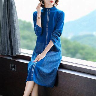 Mock-turtleneck Printed Midi Knit Dress