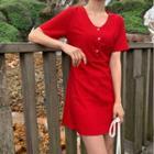 Short Sleeve V-neck Mini A-line Dress