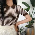 Collar-detail Striped Knit Top