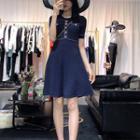 Pocket Detail Short-sleeve Knitted A-line Dress