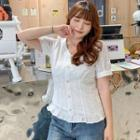 Ruffled Short-sleeve Lace Blouse