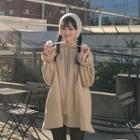 Hooded Frill-sleeve Lettering Pullover Dress